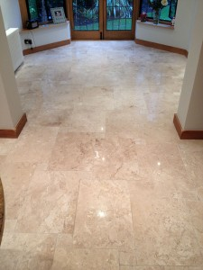 Travertine floor cleaned and polished